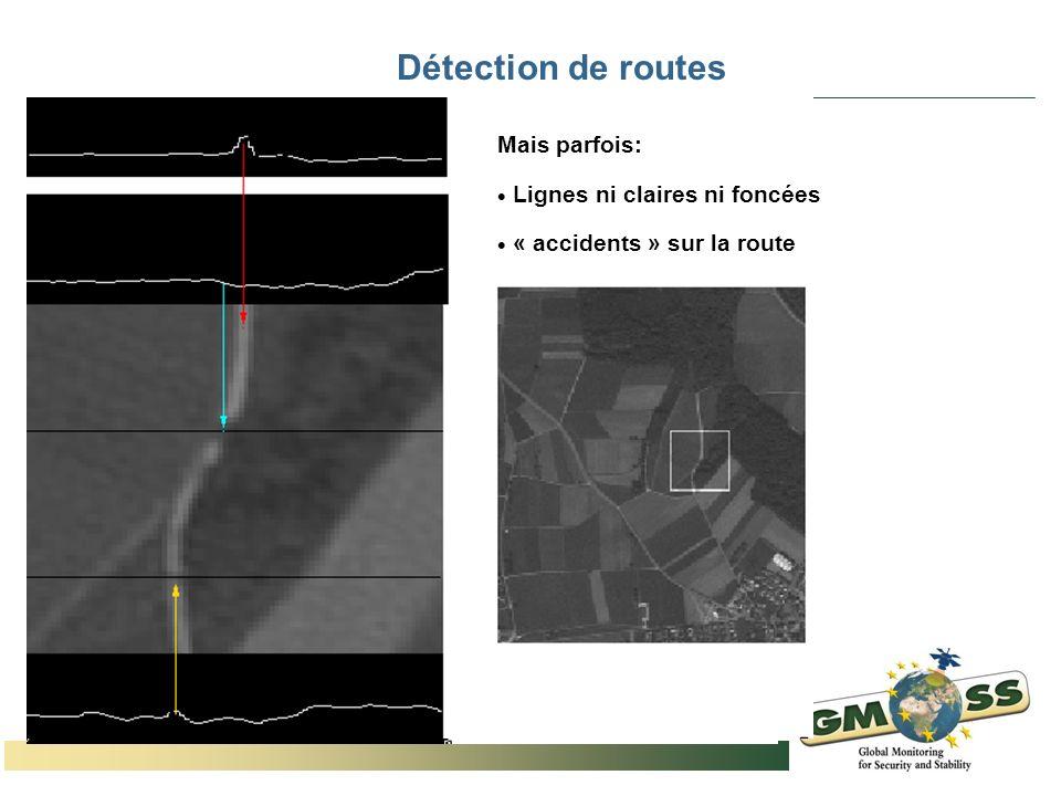 Détection de routes Mais parfois: Lignes ni claires ni foncées « accidents » sur la route
