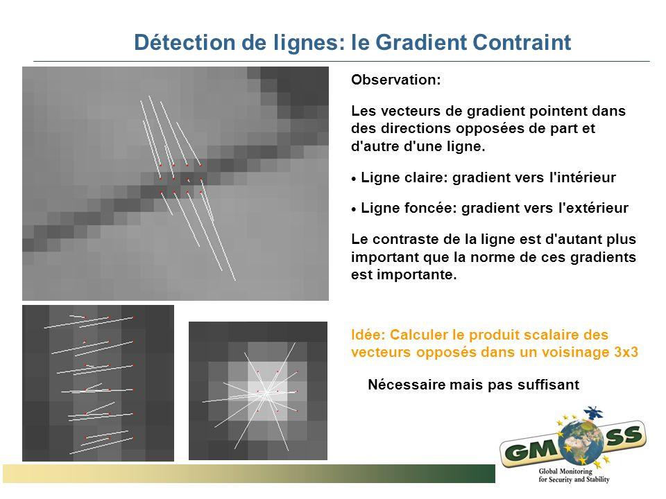 Détection de lignes: le Gradient Contraint Observation: Les vecteurs de gradient pointent dans des directions opposées de part et d'autre d'une ligne.