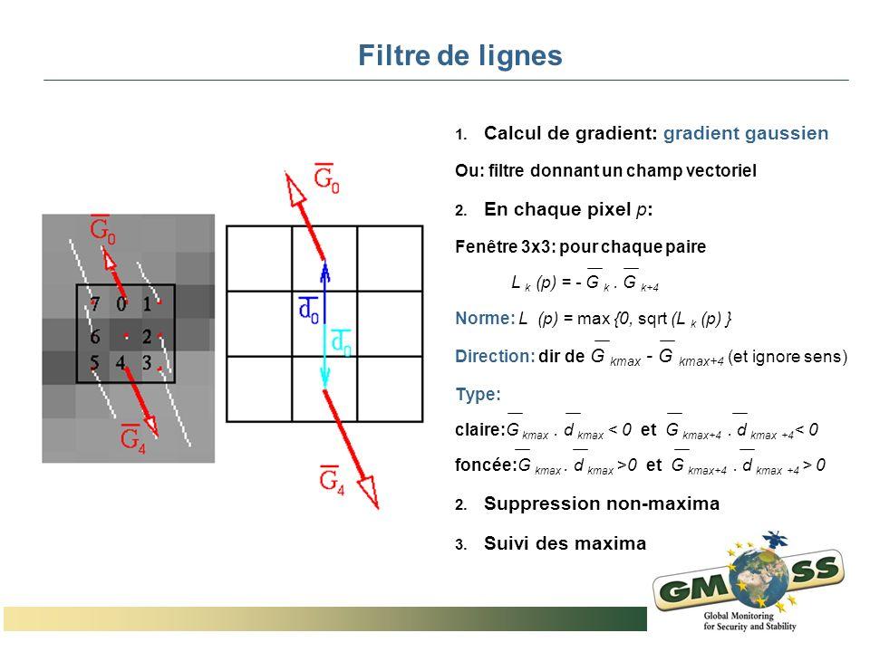 Filtre de lignes 1. Calcul de gradient: gradient gaussien Ou: filtre donnant un champ vectoriel 2. En chaque pixel p: Fenêtre 3x3: pour chaque paire L
