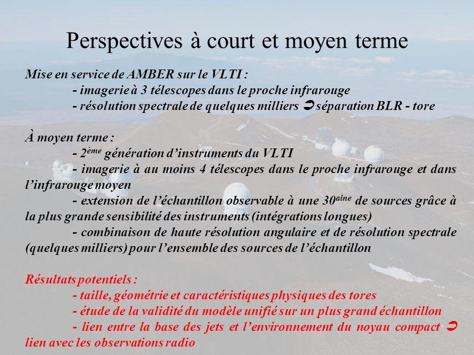 Perspectives à court et moyen terme Mise en service de AMBER sur le VLTI : - imagerie à 3 télescopes dans le proche infrarouge - résolution spectrale