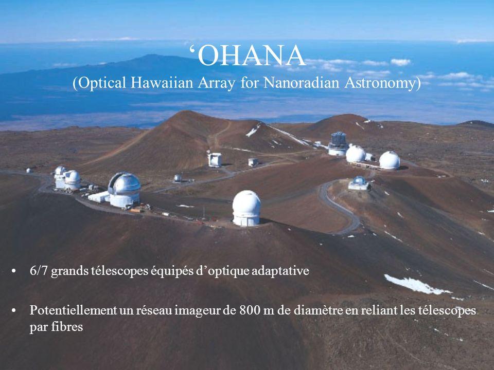 OHANA (Optical Hawaiian Array for Nanoradian Astronomy) 6/7 grands télescopes équipés doptique adaptative Potentiellement un réseau imageur de 800 m d