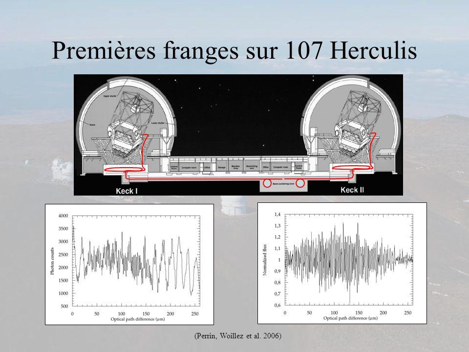 Premières franges sur 107 Herculis (Perrin, Woillez et al. 2006)