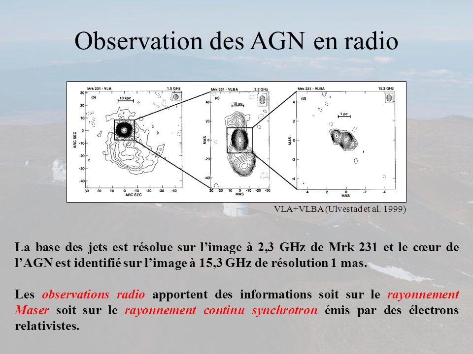 VLA+VLBA (Ulvestad et al. 1999) La base des jets est résolue sur limage à 2,3 GHz de Mrk 231 et le cœur de lAGN est identifié sur limage à 15,3 GHz de