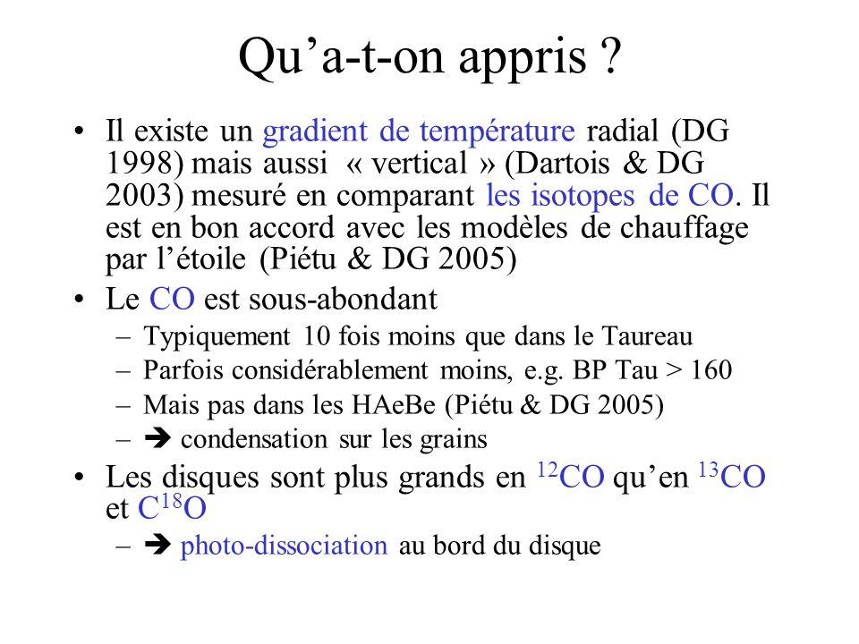Il existe un gradient de température radial (DG 1998) mais aussi « vertical » (Dartois & DG 2003) mesuré en comparant les isotopes de CO.