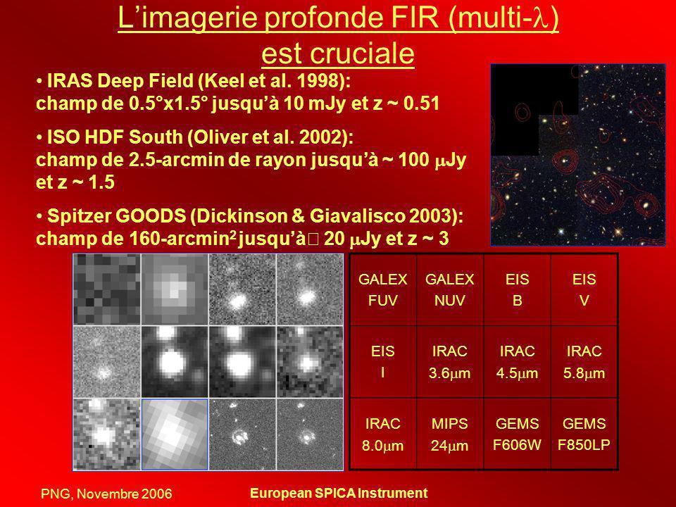PNG, Novembre 2006 European SPICA Instrument Limagerie profonde FIR (multi- ) est cruciale IRAS Deep Field (Keel et al. 1998): champ de 0.5°x1.5° jusq