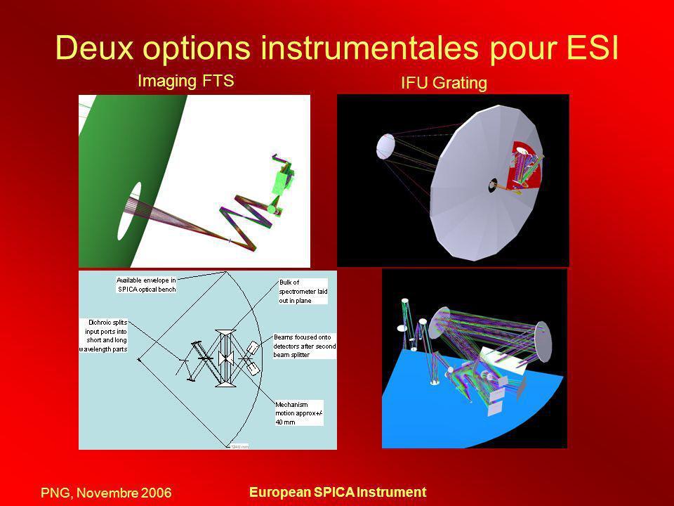 PNG, Novembre 2006 European SPICA Instrument Deux options instrumentales pour ESI Imaging FTS IFU Grating