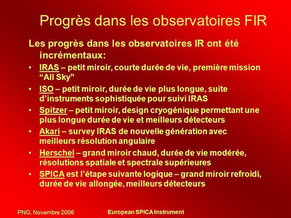PNG, Novembre 2006 European SPICA Instrument Progrès dans les observatoires FIR Les progrès dans les observatoires IR ont été incrémentaux: IRAS – pet