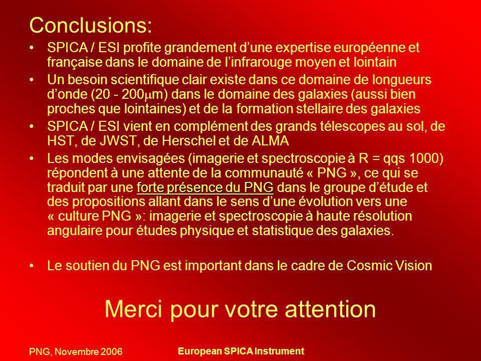 PNG, Novembre 2006 European SPICA Instrument Merci pour votre attention Conclusions: SPICA / ESI profite grandement dune expertise européenne et franç