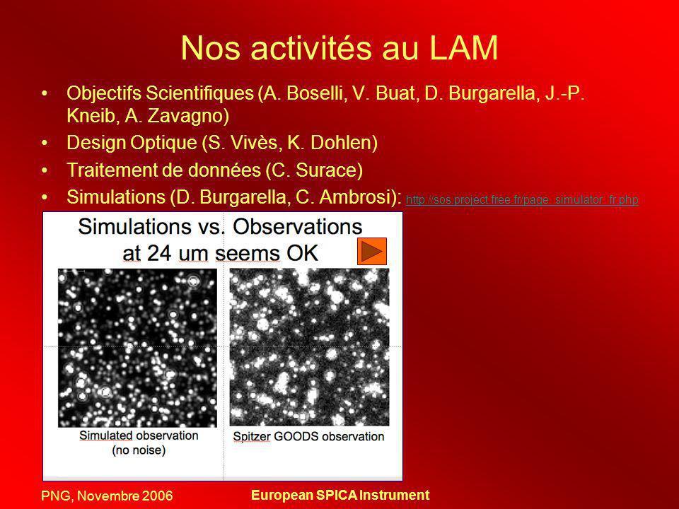 PNG, Novembre 2006 European SPICA Instrument Nos activités au LAM Objectifs Scientifiques (A. Boselli, V. Buat, D. Burgarella, J.-P. Kneib, A. Zavagno