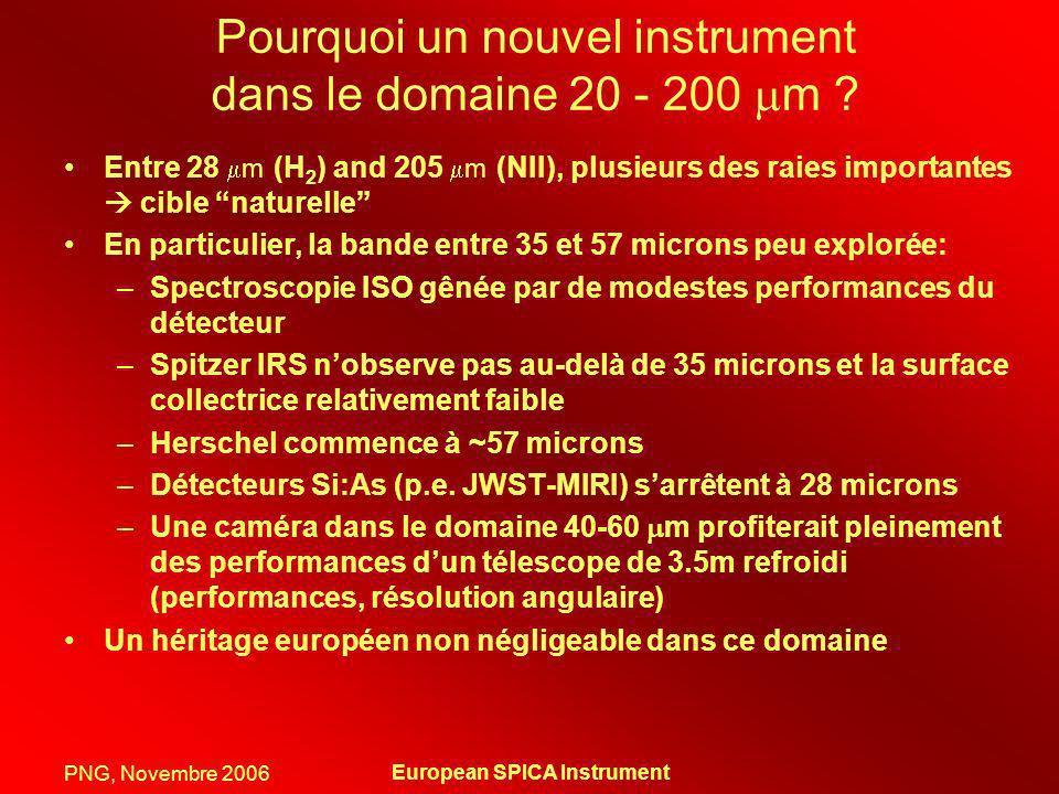 PNG, Novembre 2006 European SPICA Instrument Emission dans le MIR/FIR … ISO et Spitzer ont montré quil existait des structures du MIR au FIR dorigine diverses à tout redshift Comprendre le spectre des galaxies dans le domaine MIR/FIR est le meilleur moyen de mieux estimer les conditions physiques dans les galaxies Comprendre le spectre des galaxies dans le domaine MIR/FIR est le meilleur moyen de mieux estimer la côté sombre de la formation stellaire