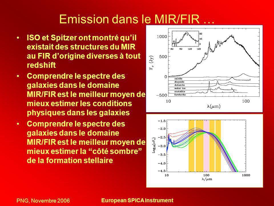 PNG, Novembre 2006 European SPICA Instrument Continuum Excellente synergie JWST + SPICA + Herschel + ALMA En bande large, nous pourrions atteindre des sensibilités (5- 1 hour) ~ 5-10 Jy (goal) 20-100 Jy (photoconducteurs disponibles) avec = 5 cm -1 (R=50 à 40 m) nous atteignons 1 mJy A une résolution équivalente à ISO/LWS nous atteingnons 4 mJy (100x plus sensible) NGC 4414: une galaxie normal LBGs: galaxies sélectionnées en UV ESI JWST Herschel ALMA