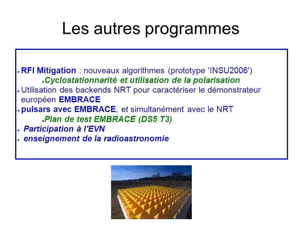 Les autres programmes RFI Mitigation : nouveaux algorithmes (prototype INSU2006 ) Cyclostationnarité et utilisation de la polarisation Utilisation des backends NRT pour caractériser le démonstrateur européen EMBRACE pulsars avec EMBRACE, et simultanément avec le NRT Plan de test EMBRACE (DS5 T3) Participation à l EVN enseignement de la radioastronomie