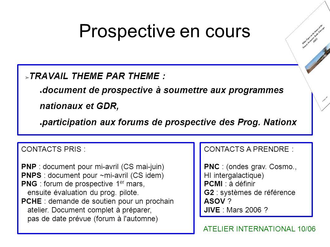 Prospective en cours TRAVAIL THEME PAR THEME : document de prospective à soumettre aux programmes nationaux et GDR, participation aux forums de prospective des Prog.