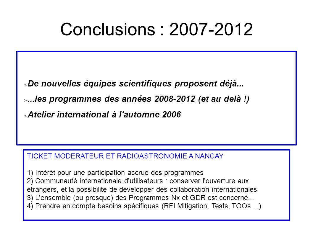 Conclusions : 2007-2012 De nouvelles équipes scientifiques proposent déjà......les programmes des années 2008-2012 (et au delà !) Atelier international à l automne 2006 TICKET MODERATEUR ET RADIOASTRONOMIE A NANCAY 1) Intérêt pour une participation accrue des programmes 2) Communauté internationale d utilisateurs : conserver l ouverture aux étrangers, et la possibilité de développer des collaboration internationales 3) L ensemble (ou presque) des Programmes Nx et GDR est concerné...