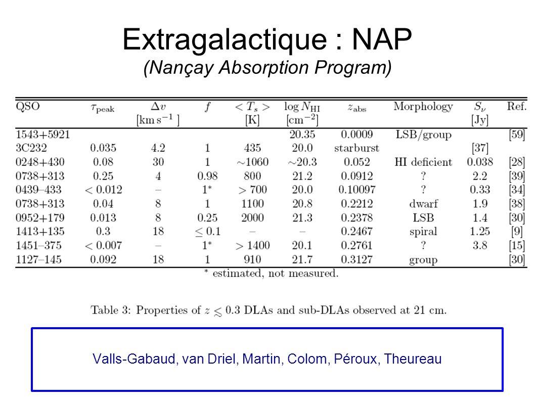 Extragalactique : NAP (Nançay Absorption Program) Valls-Gabaud, van Driel, Martin, Colom, Péroux, Theureau