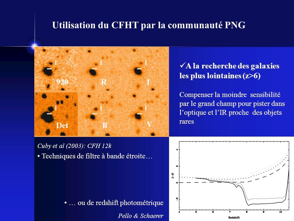 A la recherche des galaxies les plus lointaines (z>6) Compenser la moindre sensibilité par le grand champ pour pister dans loptique et lIR proche des objets rares Cuby et al (2003): CFH 12k Pello & Schaerer Techniques de filtre à bande étroite… … ou de redshift photométrique Utilisation du CFHT par la communauté PNG