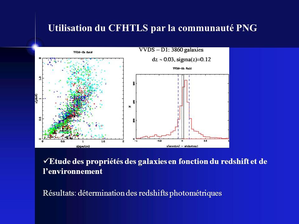 Utilisation du CFHTLS par la communauté PNG Etude des propriétés des galaxies en fonction du redshift et de lenvironnement Résultats: détermination des redshifts photométriques