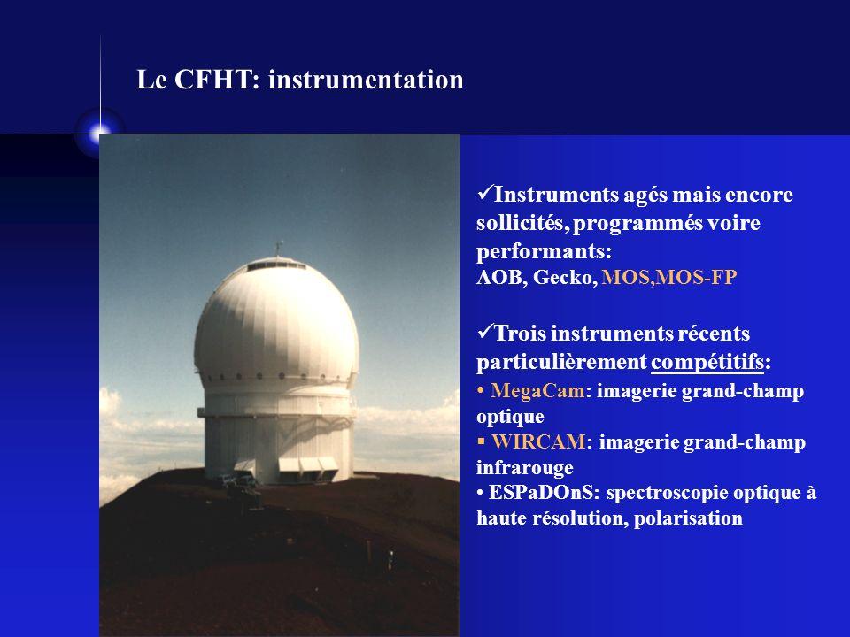 Le CFHT: instrumentation Instruments agés mais encore sollicités, programmés voire performants: AOB, Gecko, MOS,MOS-FP Trois instruments récents particulièrement compétitifs: MegaCam: imagerie grand-champ optique WIRCAM: imagerie grand-champ infrarouge ESPaDOnS: spectroscopie optique à haute résolution, polarisation
