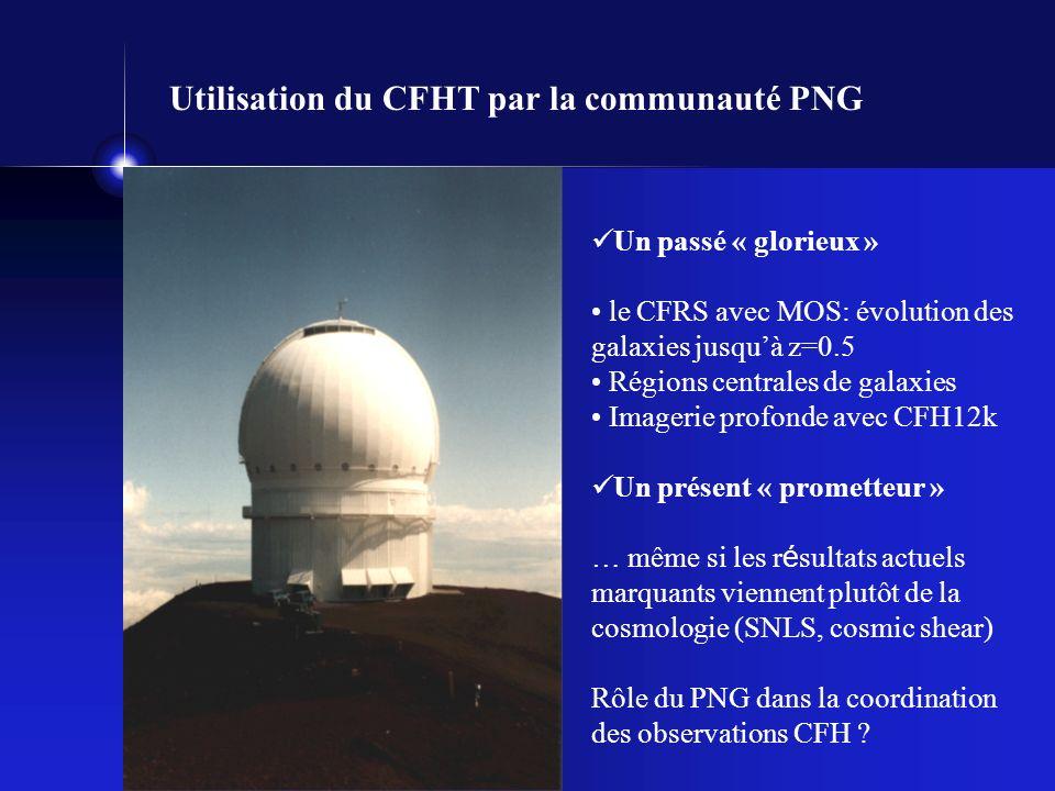 Utilisation du CFHT par la communauté PNG Un passé « glorieux » le CFRS avec MOS: évolution des galaxies jusquà z=0.5 Régions centrales de galaxies Imagerie profonde avec CFH12k Un présent « prometteur » … même si les r é sultats actuels marquants viennent plutôt de la cosmologie (SNLS, cosmic shear) Rôle du PNG dans la coordination des observations CFH