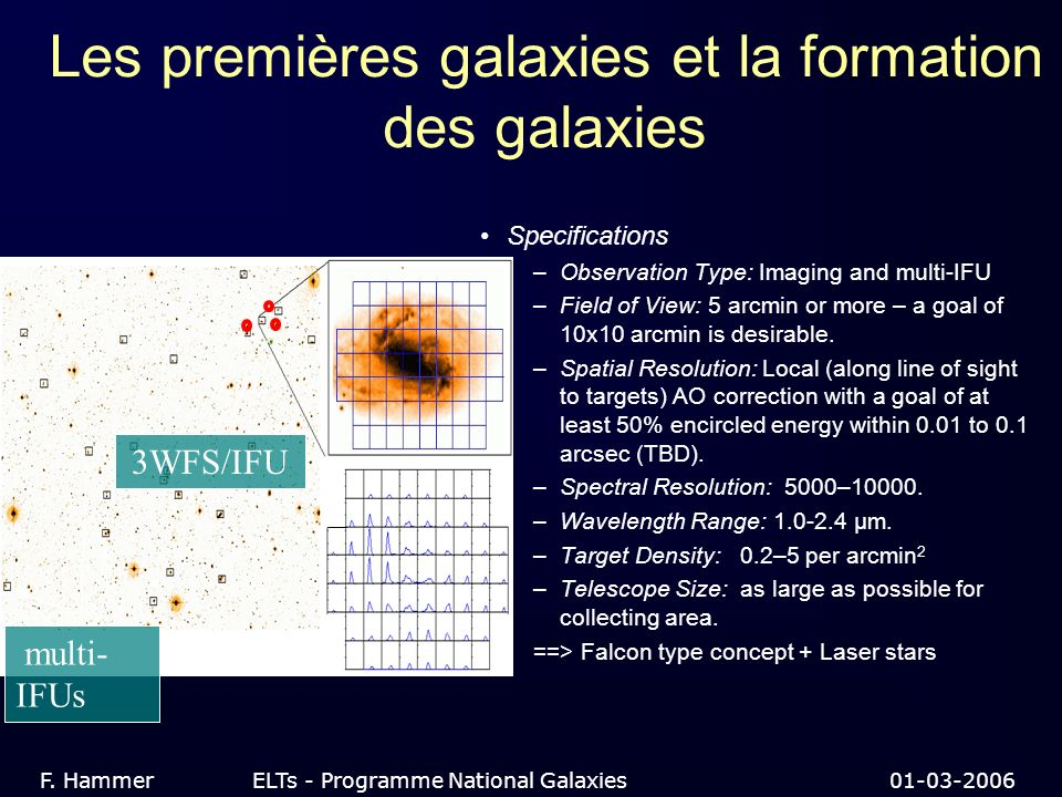 Les premières galaxies et la formation des galaxies Specifications –Observation Type: Imaging and multi-IFU –Field of View: 5 arcmin or more – a goal of 10x10 arcmin is desirable.
