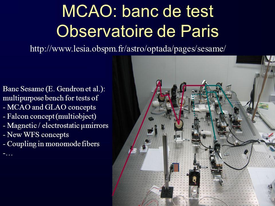 MCAO: banc de test Observatoire de Paris Banc Sesame (E. Gendron et al.): multipurpose bench for tests of - MCAO and GLAO concepts - Falcon concept (m