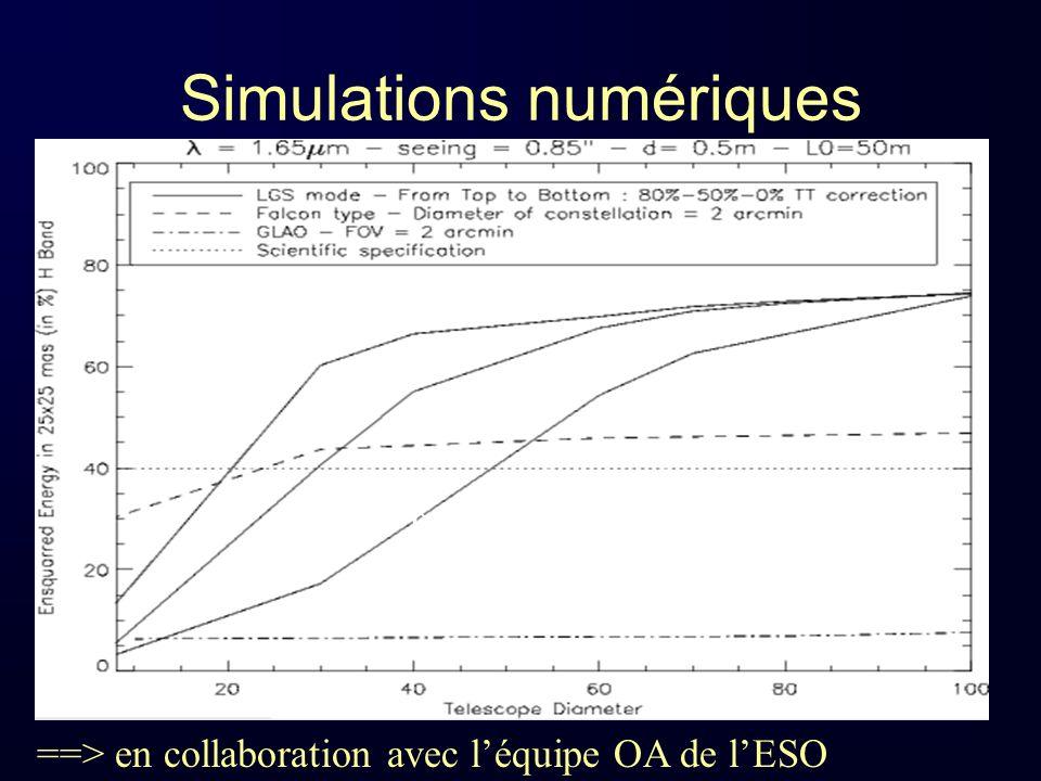 Etablissement des spécifications instrumentales de haut niveau basée sur les simulations et sur les observations effectuées sur le VLT (NACO, GIRAFFE, SINFONI) >> Un post doc financé un an sur ce sujet (M.