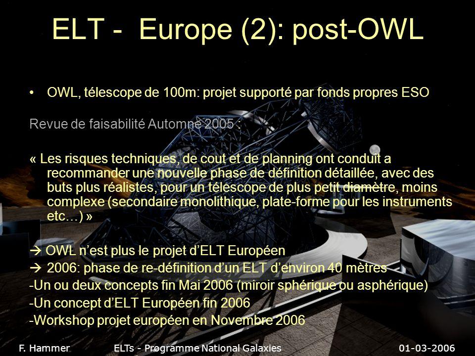 ELT - Europe (2): post-OWL OWL, télescope de 100m: projet supporté par fonds propres ESO Revue de faisabilité Automne 2005 : « Les risques techniques, de cout et de planning ont conduit a recommander une nouvelle phase de définition détaillée, avec des buts plus réalistes, pour un télescope de plus petit diamètre, moins complexe (secondaire monolithique, plate-forme pour les instruments etc…) » OWL nest plus le projet dELT Européen 2006: phase de re-définition dun ELT denviron 40 mètres -Un ou deux concepts fin Mai 2006 (miroir sphérique ou asphérique) -Un concept dELT Européen fin 2006 -Workshop projet européen en Novembre 2006 F.