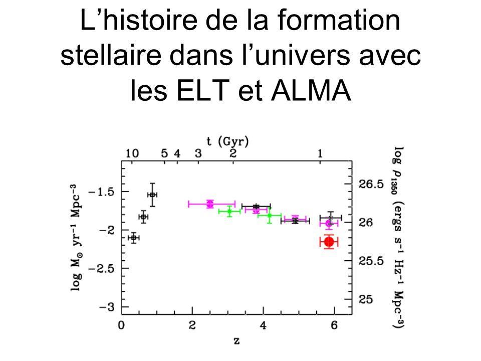 Lhistoire de la formation stellaire dans lunivers avec les ELT et ALMA