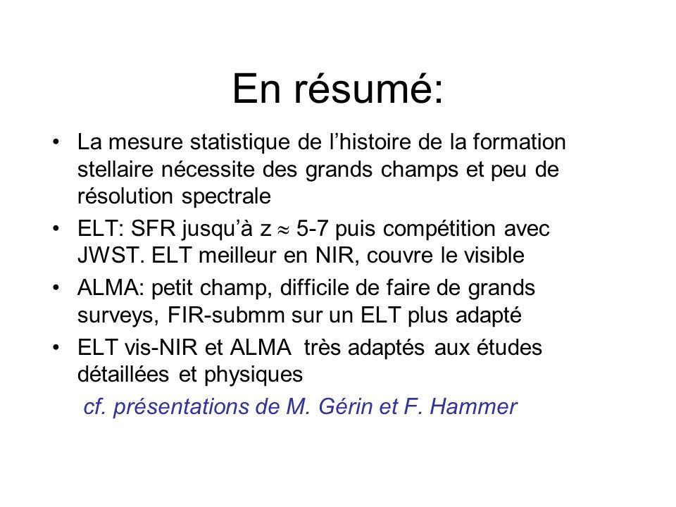 En résumé: La mesure statistique de lhistoire de la formation stellaire nécessite des grands champs et peu de résolution spectrale ELT: SFR jusquà z 5-7 puis compétition avec JWST.