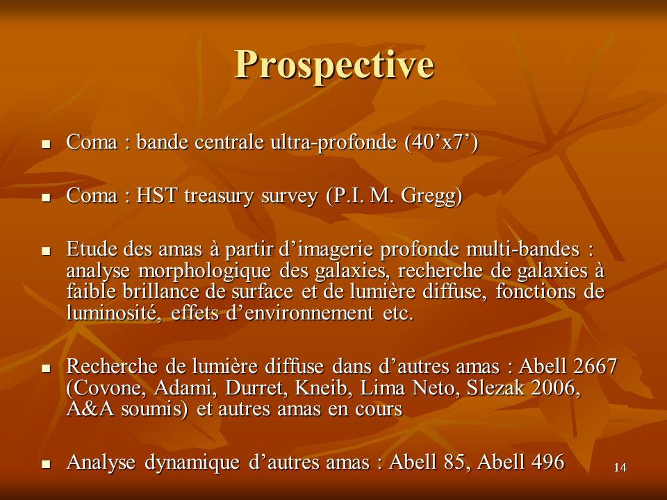 14 Prospective Coma : bande centrale ultra-profonde (40x7) Coma : bande centrale ultra-profonde (40x7) Coma : HST treasury survey (P.I.