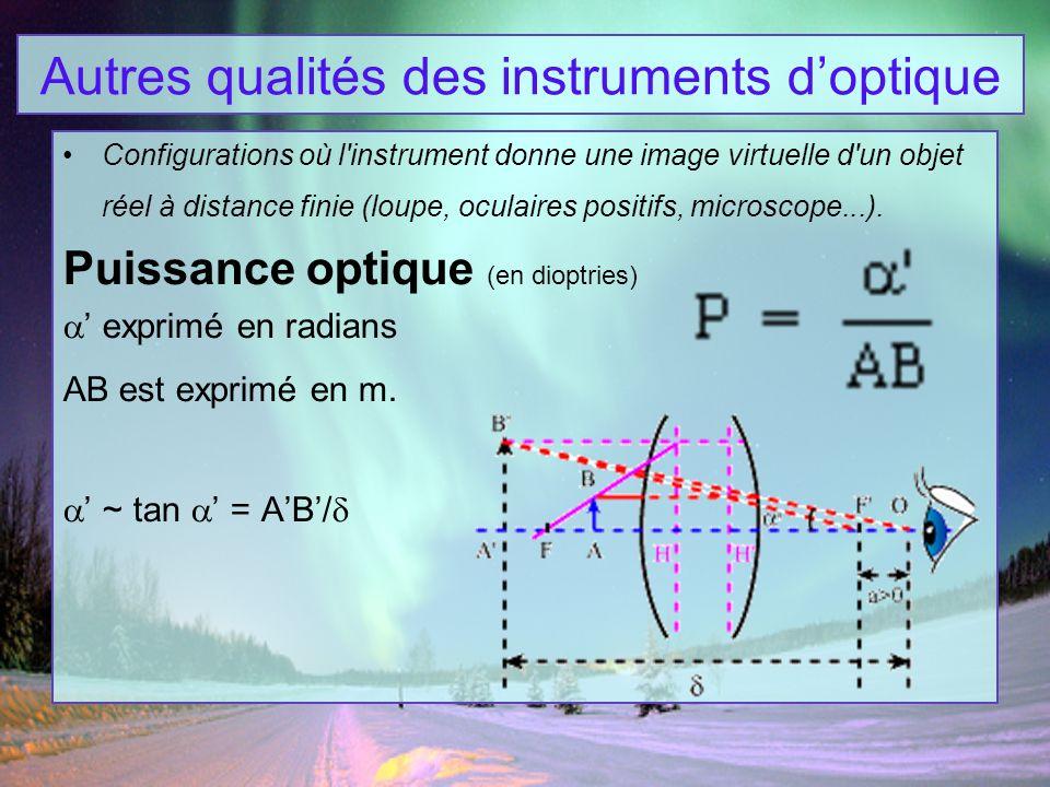 Autres qualités des instruments doptique Configurations où l'instrument donne une image virtuelle d'un objet réel à distance finie (loupe, oculaires p