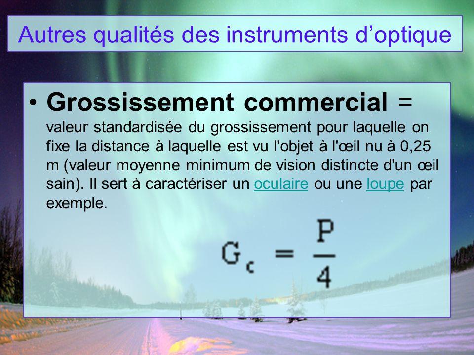 Grossissement commercial = valeur standardisée du grossissement pour laquelle on fixe la distance à laquelle est vu l'objet à l'œil nu à 0,25 m (valeu