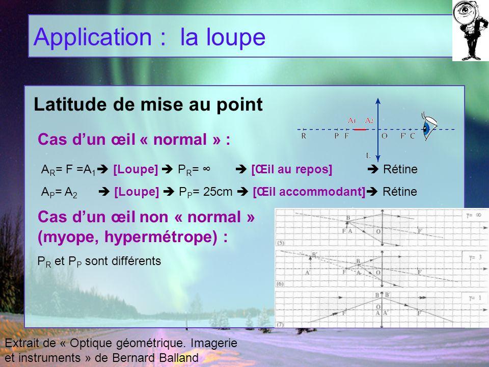 Application : la loupe Extrait de « Optique géométrique. Imagerie et instruments » de Bernard Balland A R = F =A 1 [Loupe] P R = [Œil au repos] Rétine