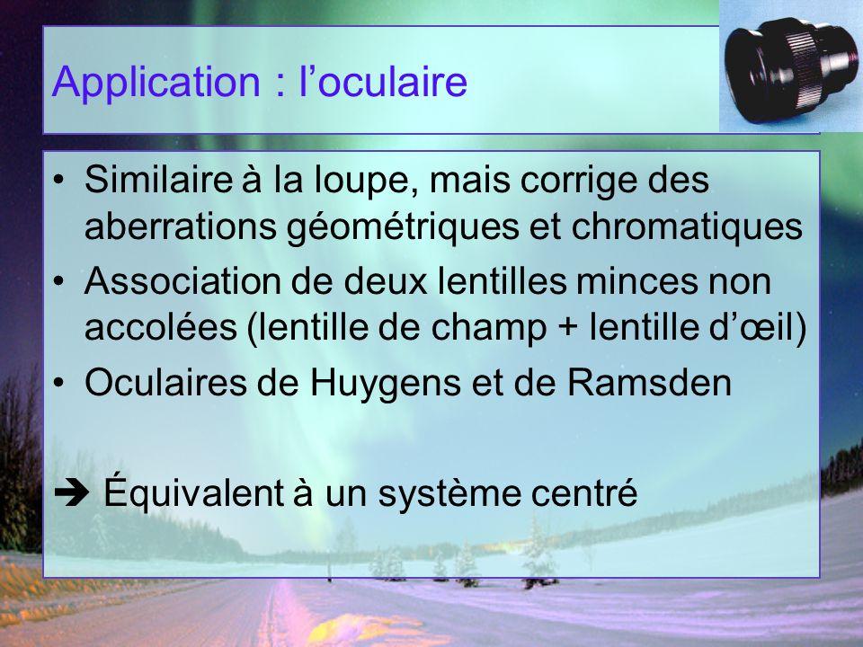 Application : loculaire Similaire à la loupe, mais corrige des aberrations géométriques et chromatiques Association de deux lentilles minces non accol