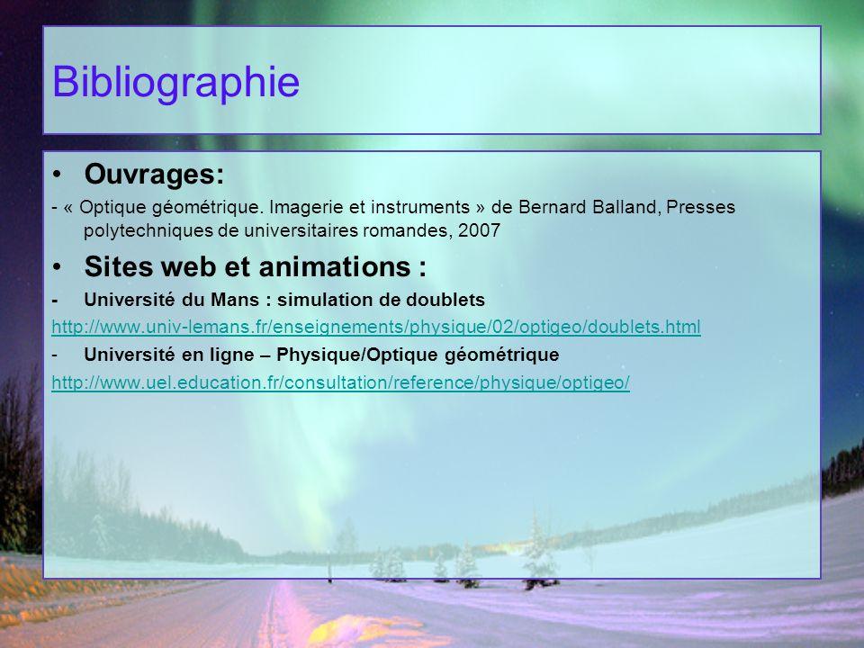 Bibliographie Ouvrages: - « Optique géométrique. Imagerie et instruments » de Bernard Balland, Presses polytechniques de universitaires romandes, 2007
