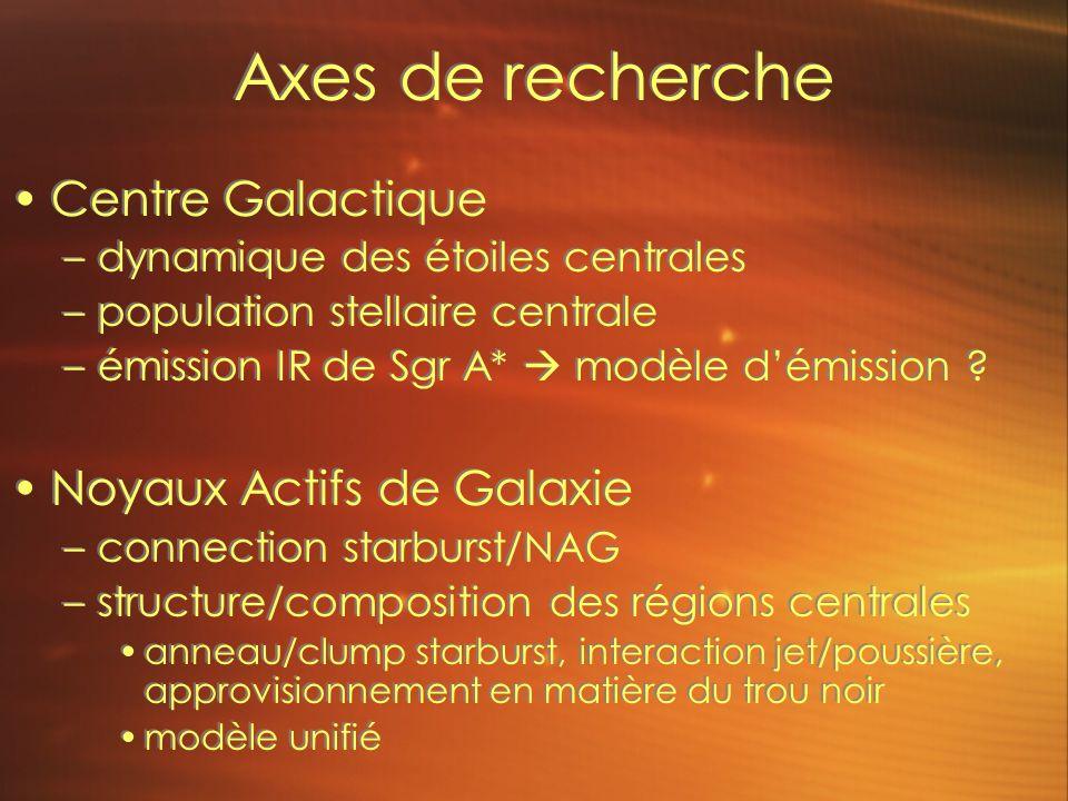 Axes de recherche Centre Galactique –dynamique des étoiles centrales –population stellaire centrale –émission IR de Sgr A* modèle démission .