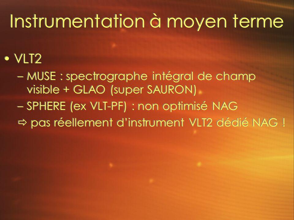 Instrumentation à moyen terme VLT2 –MUSE : spectrographe intégral de champ visible + GLAO (super SAURON) –SPHERE (ex VLT-PF) : non optimisé NAG pas réellement dinstrument VLT2 dédié NAG .