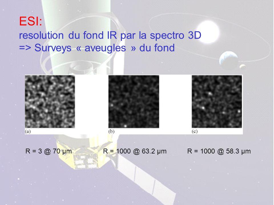 ESI: resolution du fond IR par la spectro 3D => Surveys « aveugles » du fond R = 3 @ 70 µmR = 1000 @ 63.2 µmR = 1000 @ 58.3 µm