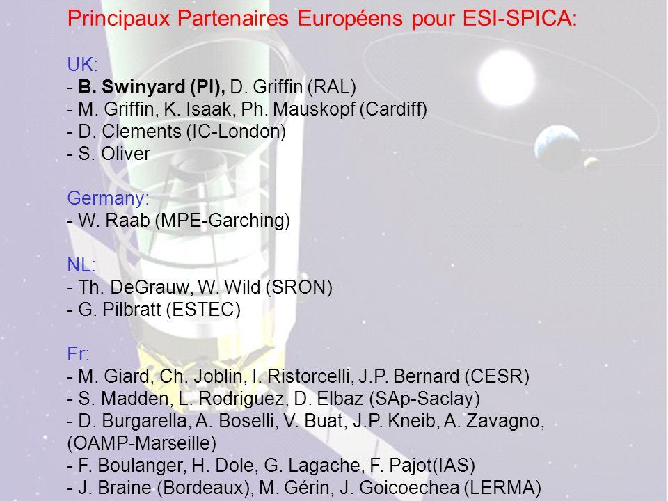 - Principaux Partenaires Européens pour ESI-SPICA: UK: - B.