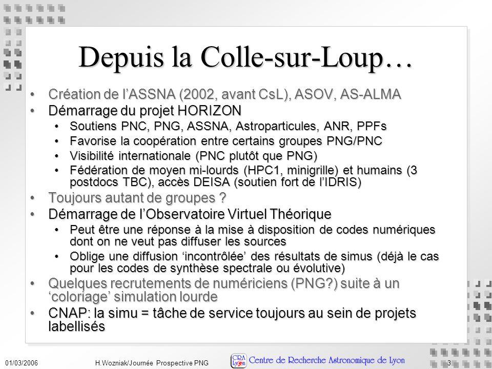01/03/2006H.Wozniak/Journée Prospective PNG3 Depuis la Colle-sur-Loup… Création de lASSNA (2002, avant CsL), ASOV, AS-ALMACréation de lASSNA (2002, avant CsL), ASOV, AS-ALMA Démarrage du projet HORIZONDémarrage du projet HORIZON Soutiens PNC, PNG, ASSNA, Astroparticules, ANR, PPFsSoutiens PNC, PNG, ASSNA, Astroparticules, ANR, PPFs Favorise la coopération entre certains groupes PNG/PNCFavorise la coopération entre certains groupes PNG/PNC Visibilité internationale (PNC plutôt que PNG)Visibilité internationale (PNC plutôt que PNG) Fédération de moyen mi-lourds (HPC1, minigrille) et humains (3 postdocs TBC), accès DEISA (soutien fort de lIDRIS)Fédération de moyen mi-lourds (HPC1, minigrille) et humains (3 postdocs TBC), accès DEISA (soutien fort de lIDRIS) Toujours autant de groupes Toujours autant de groupes .