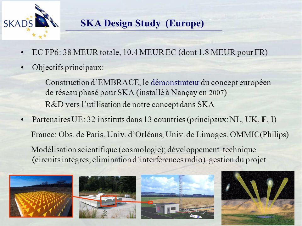 SKA Design Study (Europe) EC FP6: 38 MEUR totale, 10.4 MEUR EC (dont 1.8 MEUR pour FR) Objectifs principaux: –Construction dEMBRACE, le démonstrateur du concept européen de réseau phasé pour SKA (installé à Nançay en 2007 ) –R&D vers lutilisation de notre concept dans SKA Partenaires UE: 32 instituts dans 13 countries (principaux: NL, UK, F, I) France: Obs.