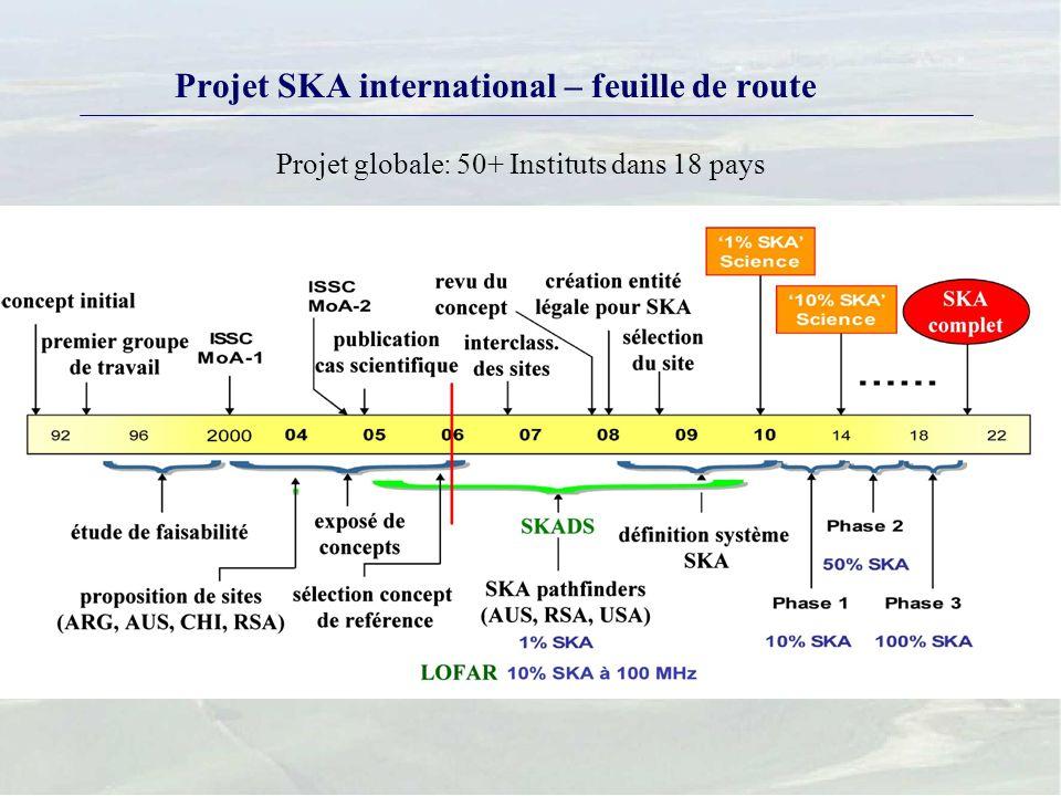 Projet SKA international – feuille de route Projet globale: 50+ Instituts dans 18 pays