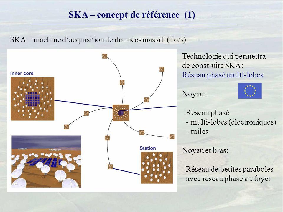 SKA – concept de référence (1) Technologie qui permettra de construire SKA: Réseau phasé multi-lobes Noyau: Réseau phasé - multi-lobes (electroniques) - tuiles Noyau et bras: Réseau de petites paraboles avec réseau phasé au foyer SKA = machine dacquisition de données massif (To/s)