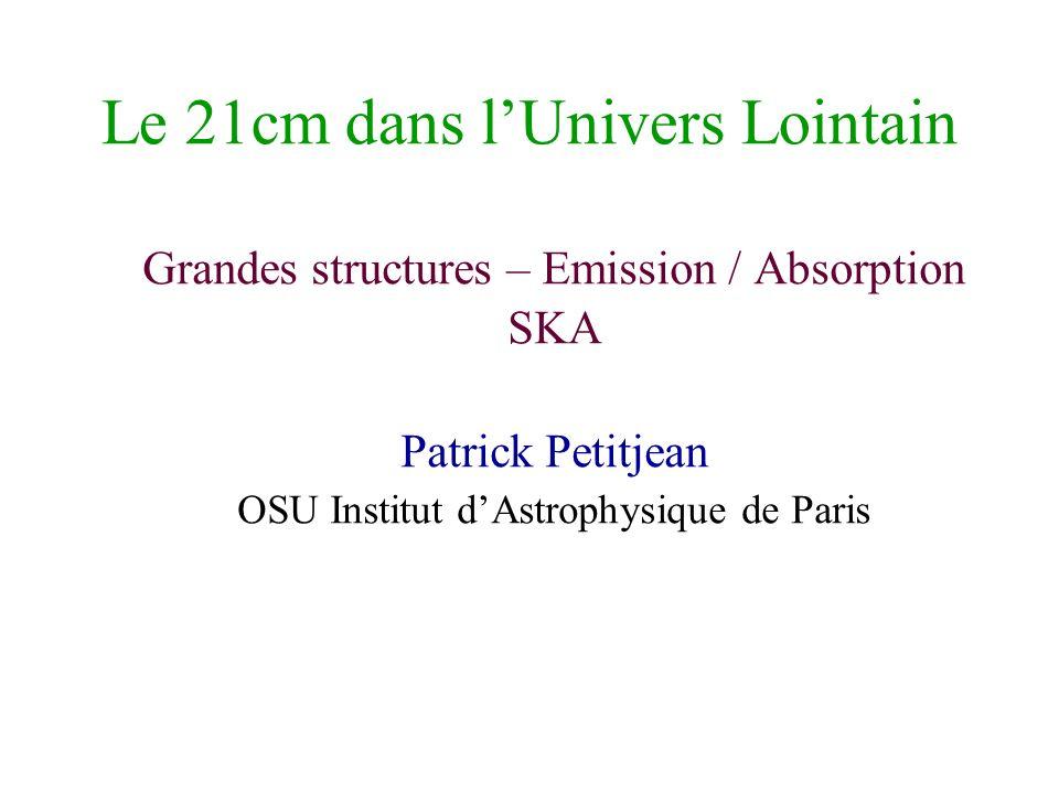 Le 21cm dans lUnivers Lointain Grandes structures – Emission / Absorption SKA Patrick Petitjean OSU Institut dAstrophysique de Paris