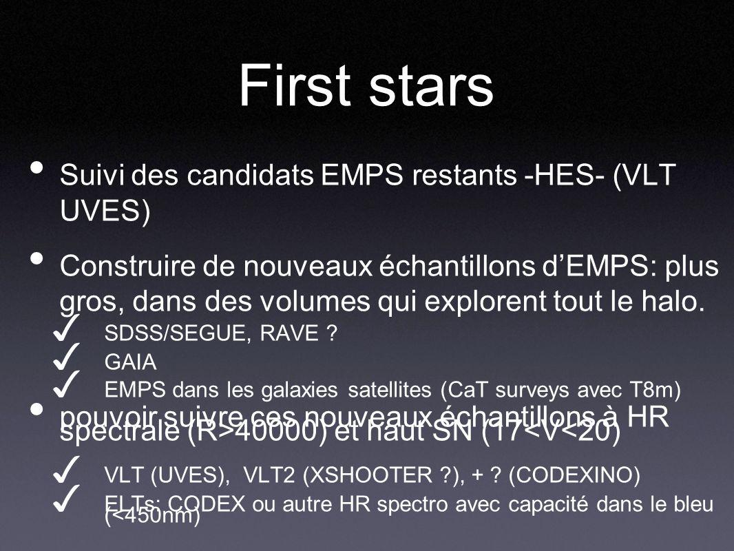 First stars Suivi des candidats EMPS restants -HES- (VLT UVES) Construire de nouveaux échantillons dEMPS: plus gros, dans des volumes qui explorent to