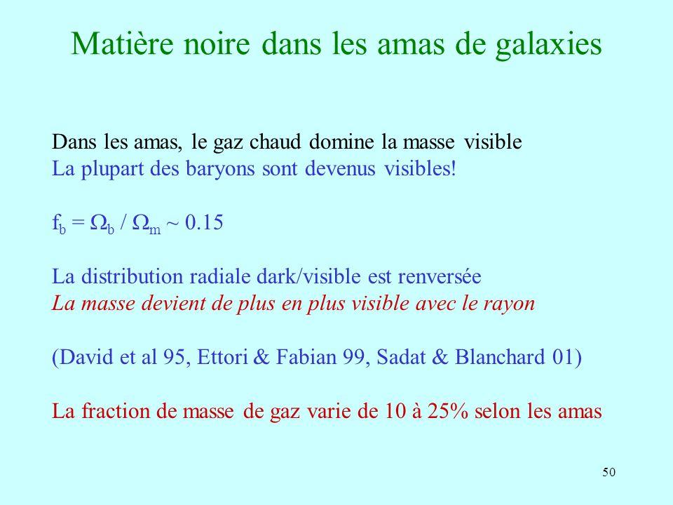 50 Matière noire dans les amas de galaxies Dans les amas, le gaz chaud domine la masse visible La plupart des baryons sont devenus visibles.