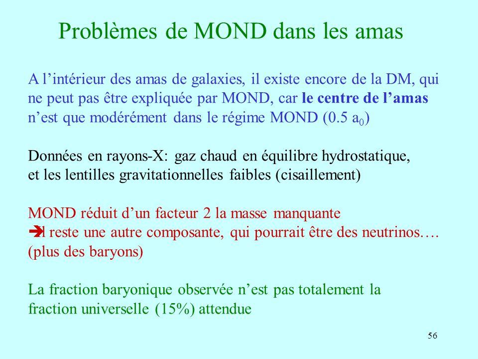 56 Problèmes de MOND dans les amas A lintérieur des amas de galaxies, il existe encore de la DM, qui ne peut pas être expliquée par MOND, car le centre de lamas nest que modérément dans le régime MOND (0.5 a 0 ) Données en rayons-X: gaz chaud en équilibre hydrostatique, et les lentilles gravitationnelles faibles (cisaillement) MOND réduit dun facteur 2 la masse manquante Il reste une autre composante, qui pourrait être des neutrinos….