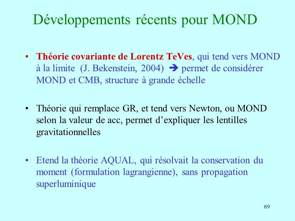 69 Développements récents pour MOND Théorie covariante de Lorentz TeVes, qui tend vers MOND à la limite (J.