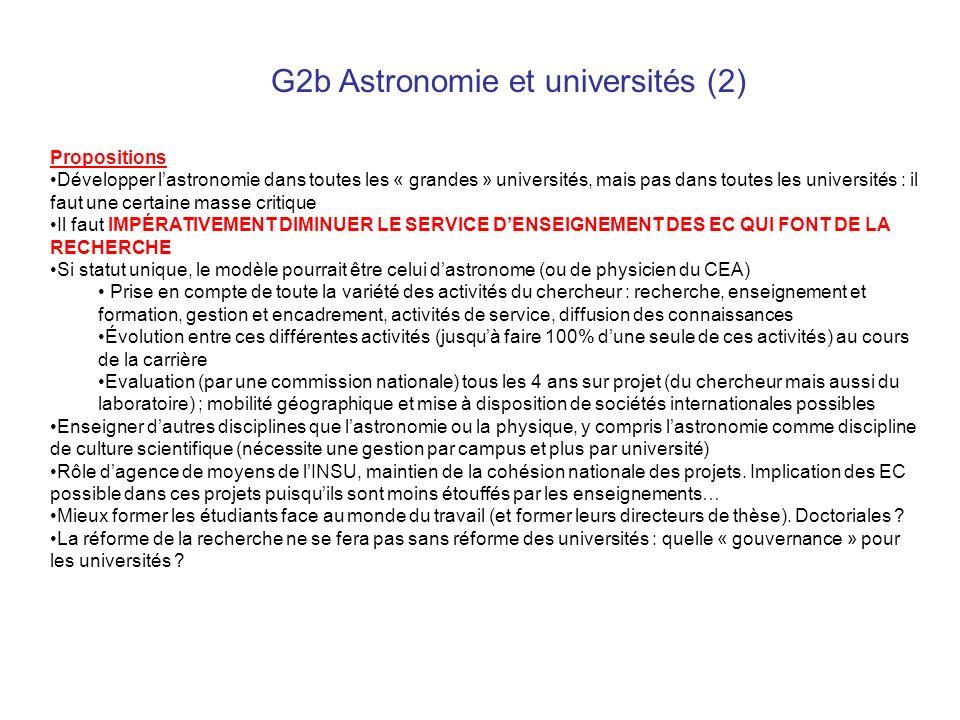 G2b Astronomie et universités (2) Propositions Développer lastronomie dans toutes les « grandes » universités, mais pas dans toutes les universités :