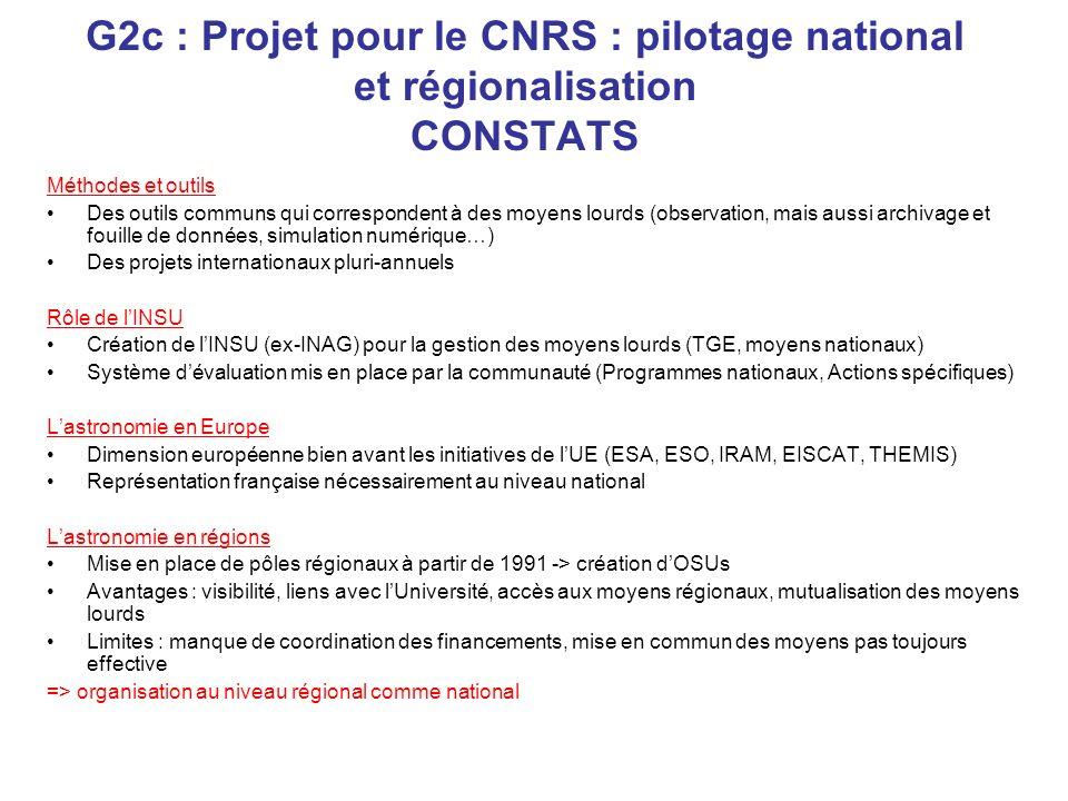 G2c : Projet pour le CNRS : pilotage national et régionalisation CONSTATS Méthodes et outils Des outils communs qui correspondent à des moyens lourds